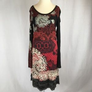 Desigual Judith Black Red Midi Dress Long Sleeve M